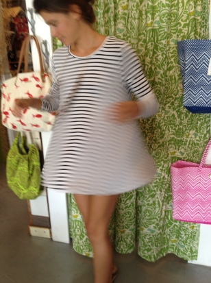 full twirl in Costa Blanca striped top