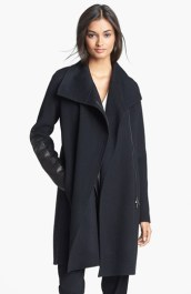 Vince Wool Coat with Leather detail
