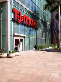 Across the way from the main entrance is the floor level entrance for T.J.Maxx