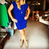 Blue Bobi dress $68, DV by Dolce Vita booties $119, Devin Krista necklace $110