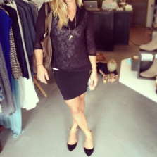 Soft by Joie sweater $128, Made skirt $55, DV by Dolce Vita pointy flats $80, Alternative leather bag $175