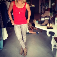 Bobi tank $28, Cult of Individuality snakeskin print denim $99, DV by Dolce Vita booties $119