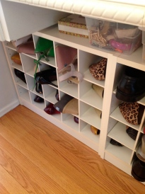 Shoes organized in a cubby