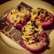 Gruner's famous beet pickled deviled eggs