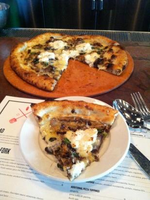 Mushroom pizza at Oven & Shaker