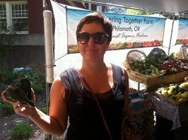 Checking out the selection at the Farmer's Market