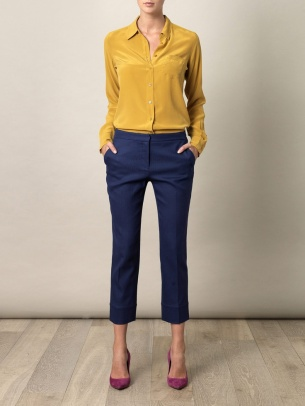 mustard silk shirt