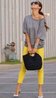 slim cropped pant yellow