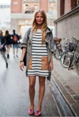 trench with stripe dress