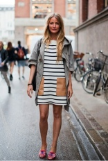 trench with stripe dress