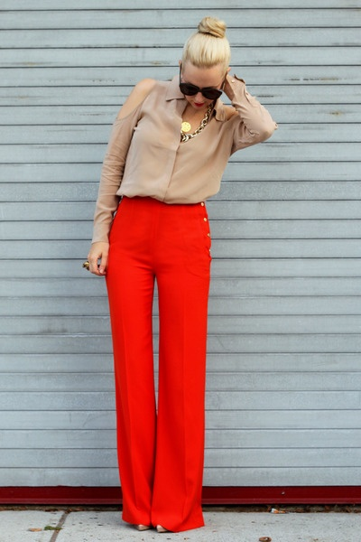 Soft shoulders, bold wide legged pants work!