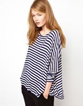 Wide collars and horizontal stripes only accentuate your broadness. And this one is boxy, not a good combo. A body hugging stripe top in a V or U neck works.